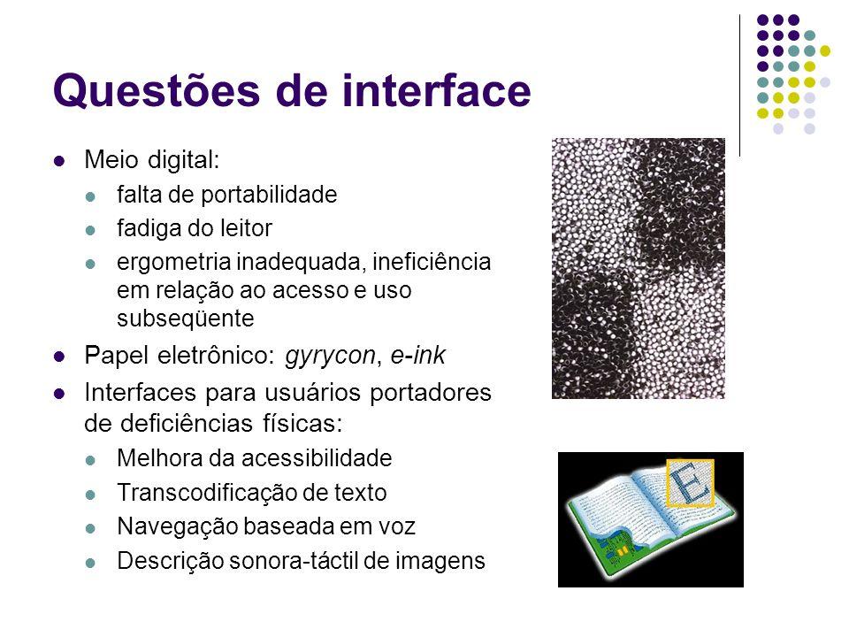 Questões de interface Meio digital: Papel eletrônico: gyrycon, e-ink
