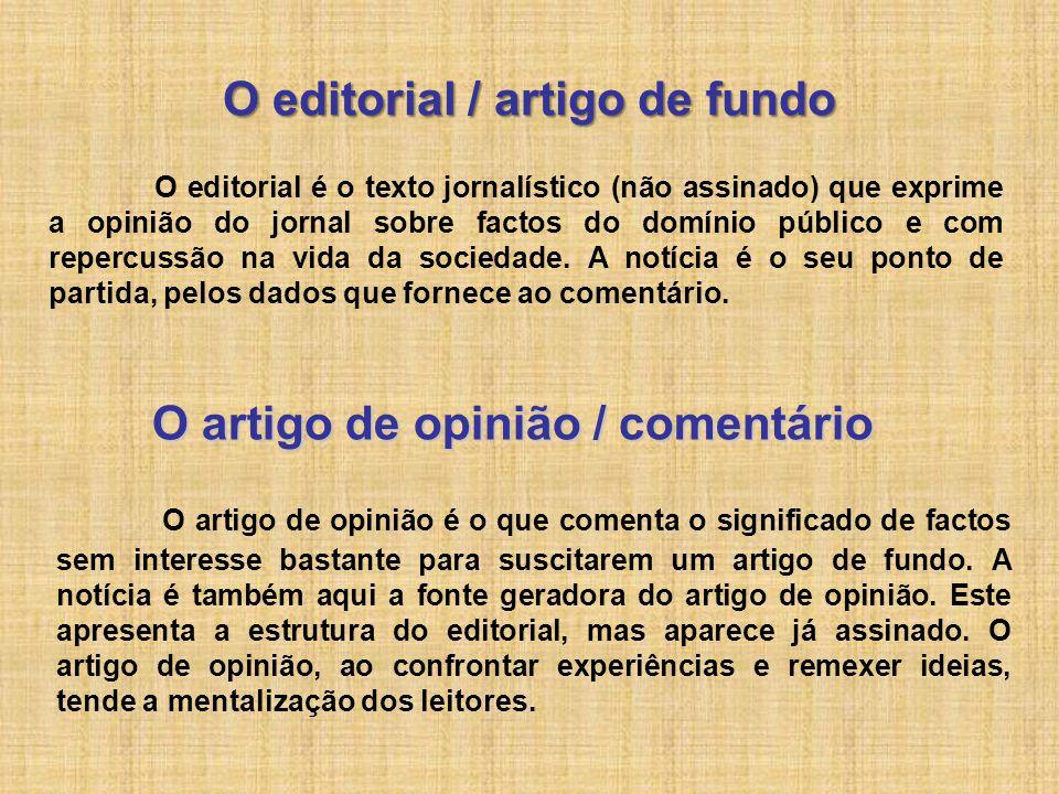 O editorial / artigo de fundo