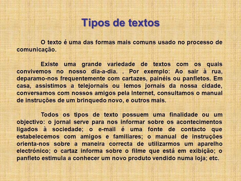Tipos de textos O texto é uma das formas mais comuns usado no processo de comunicação.
