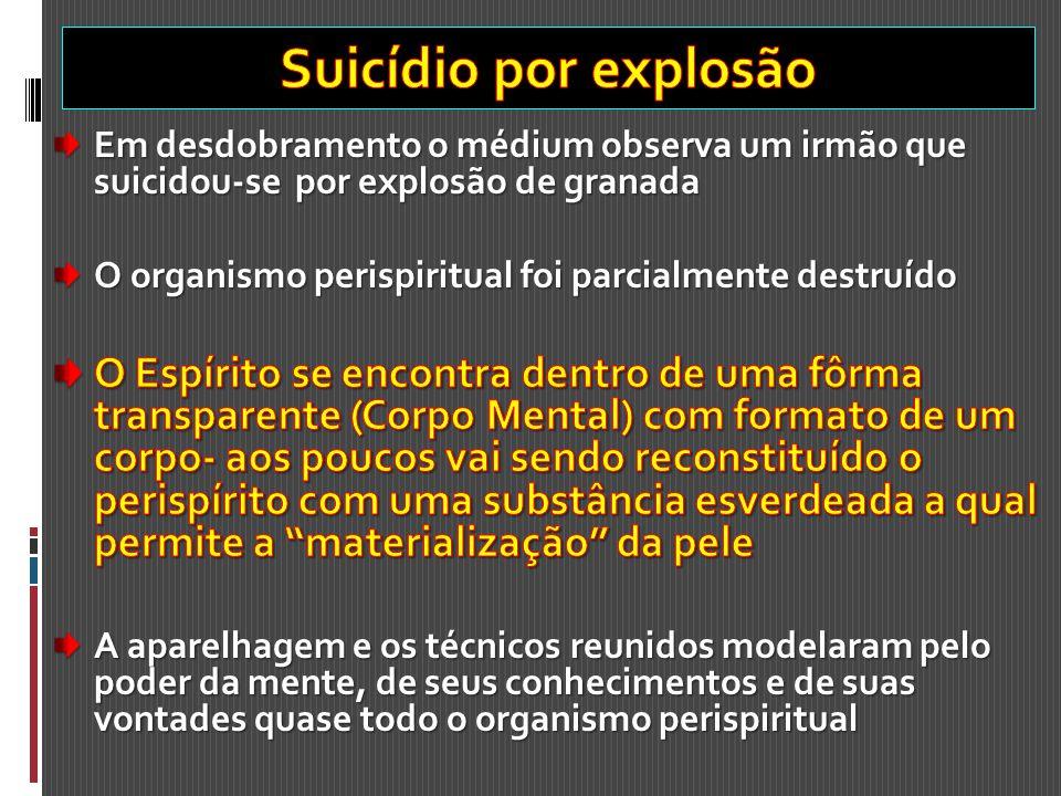 Suicídio por explosão Em desdobramento o médium observa um irmão que suicidou-se por explosão de granada.