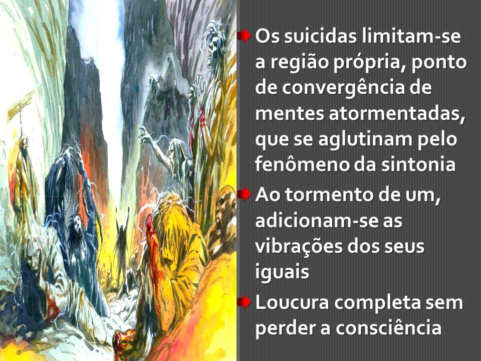 Os suicidas limitam-se a região própria, ponto de convergência de mentes atormentadas, que se aglutinam pelo fenômeno da sintonia