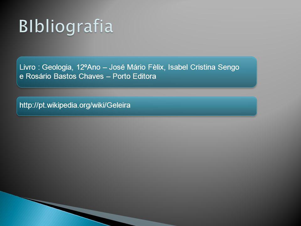 BIbliografia Livro : Geologia, 12ºAno – José Mário Fèlix, Isabel Cristina Sengo. e Rosário Bastos Chaves – Porto Editora.