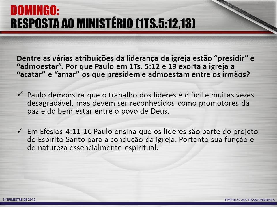 DOMINGO: RESPOSTA AO MINISTÉRIO (1TS.5:12,13)