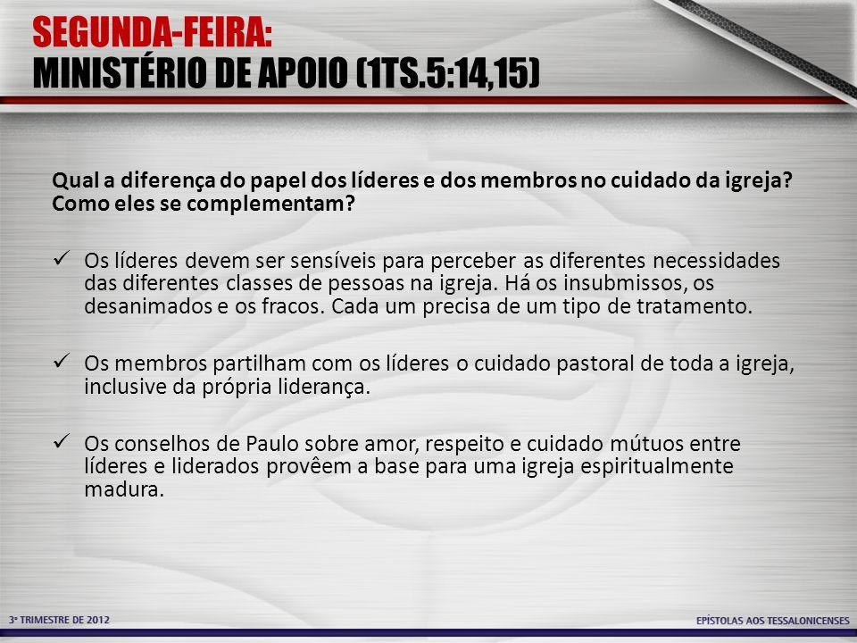 SEGUNDA-FEIRA: MINISTÉRIO DE APOIO (1TS.5:14,15)