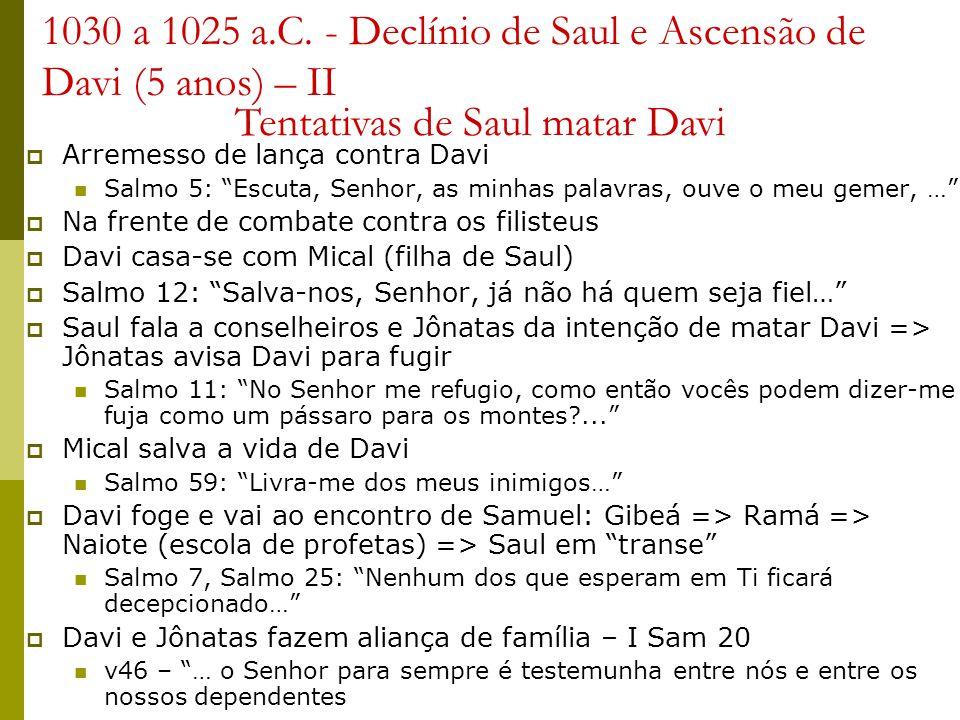 1030 a 1025 a.C. - Declínio de Saul e Ascensão de Davi (5 anos) – II