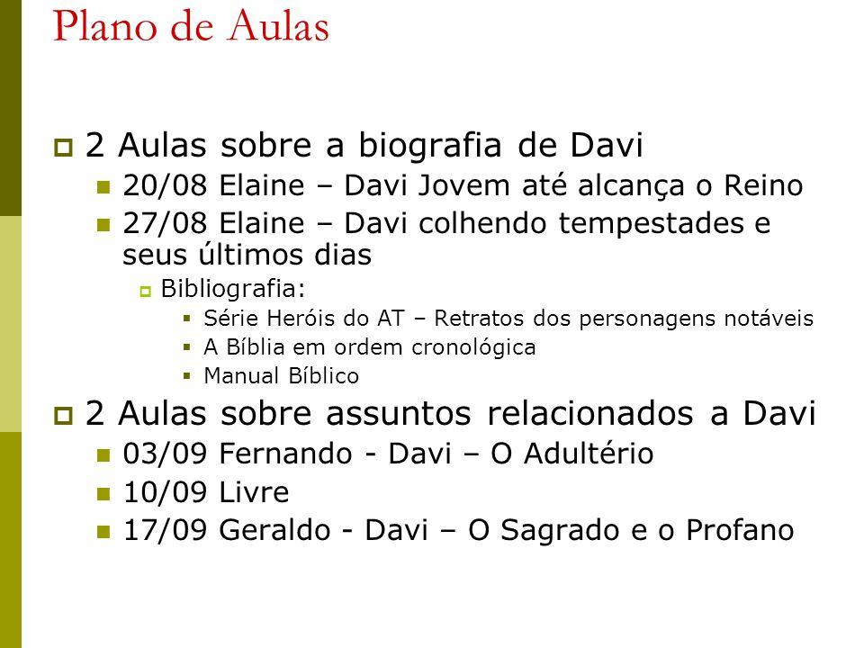 Plano de Aulas 2 Aulas sobre a biografia de Davi