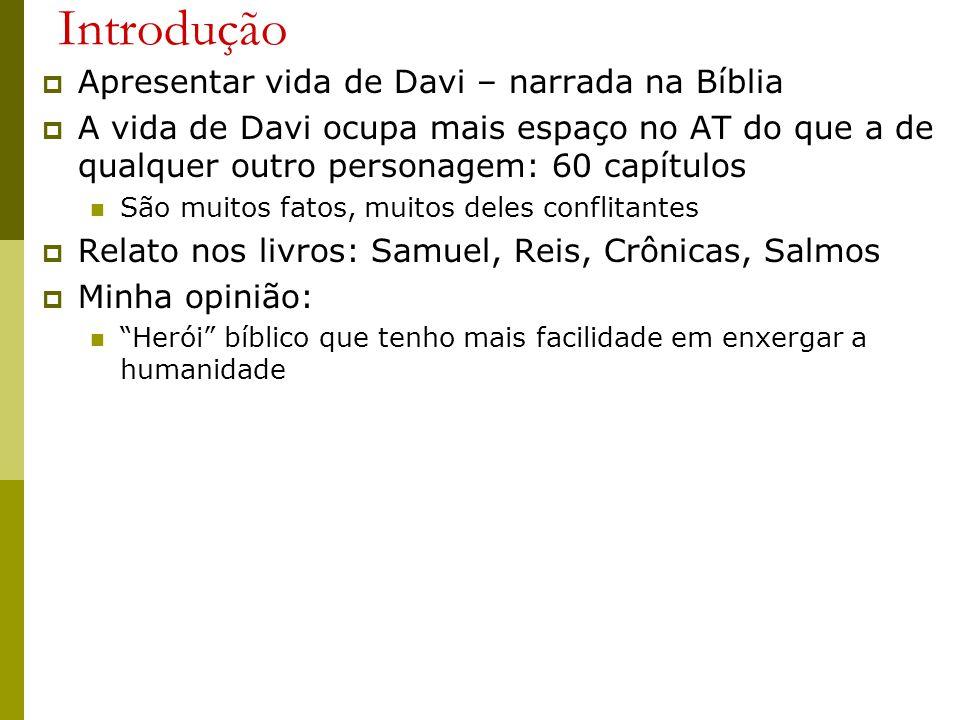 Introdução Apresentar vida de Davi – narrada na Bíblia