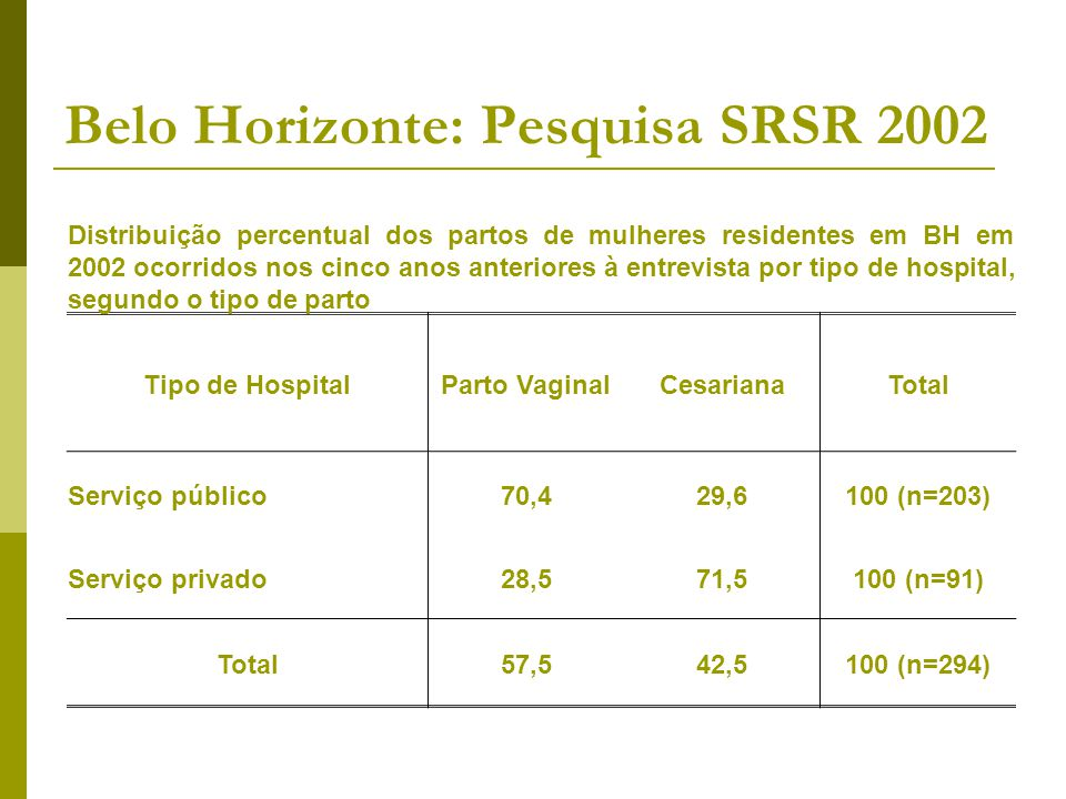 Belo Horizonte: Pesquisa SRSR 2002
