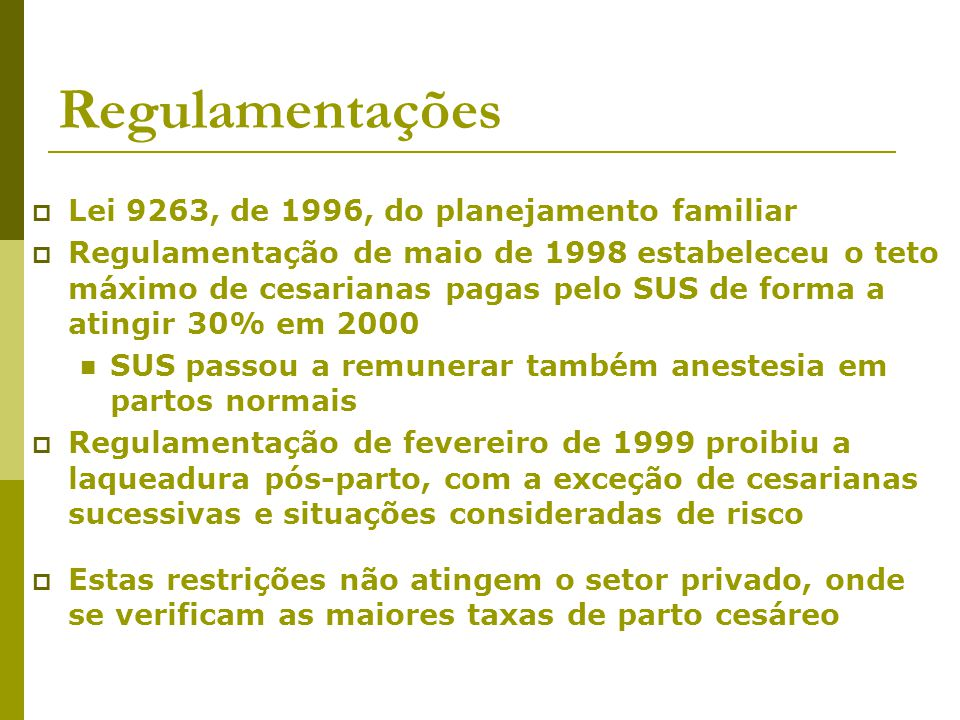 Regulamentações Lei 9263, de 1996, do planejamento familiar