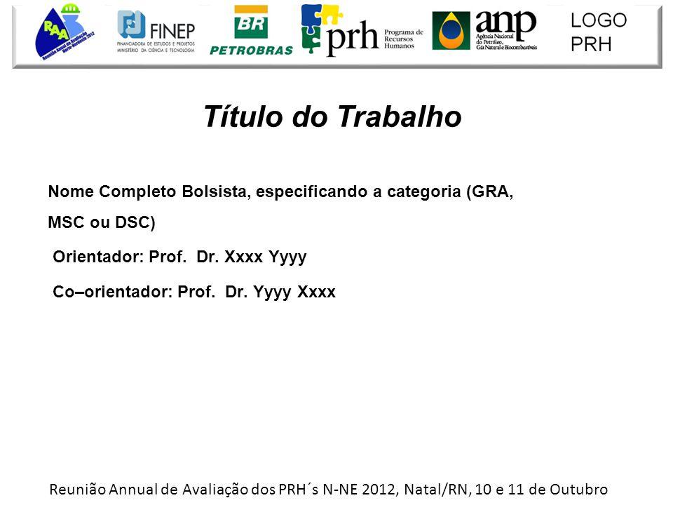 Título do Trabalho Nome Completo Bolsista, especificando a categoria (GRA, MSC ou DSC) Orientador: Prof. Dr. Xxxx Yyyy.