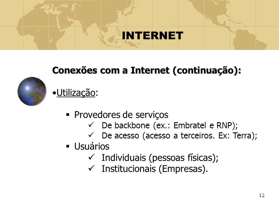 INTERNET Conexões com a Internet (continuação): Utilização: