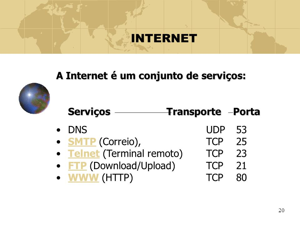 INTERNET A Internet é um conjunto de serviços: