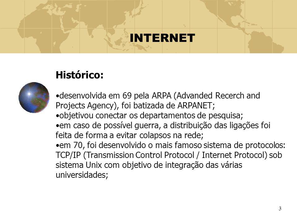 INTERNET Histórico: desenvolvida em 69 pela ARPA (Advanded Recerch and Projects Agency), foi batizada de ARPANET;