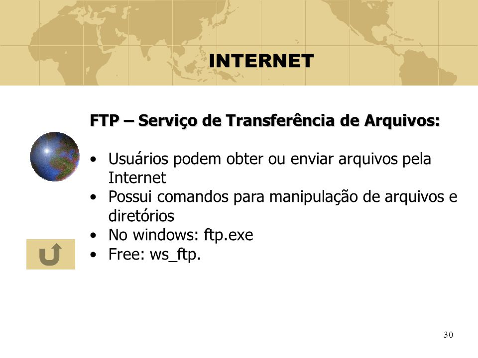 INTERNET FTP – Serviço de Transferência de Arquivos: