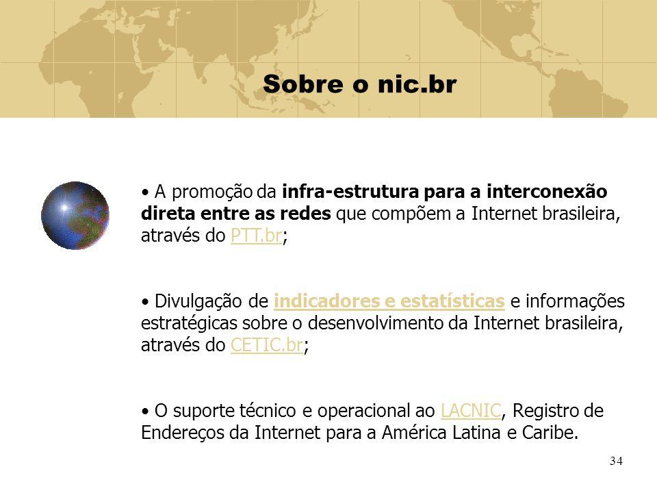Sobre o nic.br A promoção da infra-estrutura para a interconexão direta entre as redes que compõem a Internet brasileira, através do PTT.br;