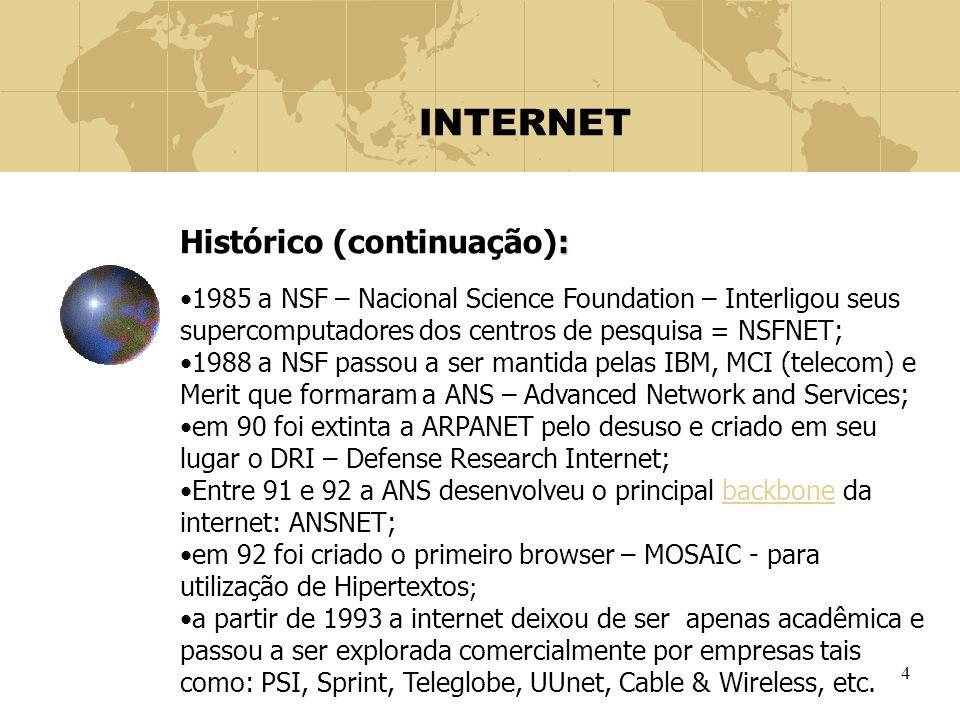 INTERNET Histórico (continuação):