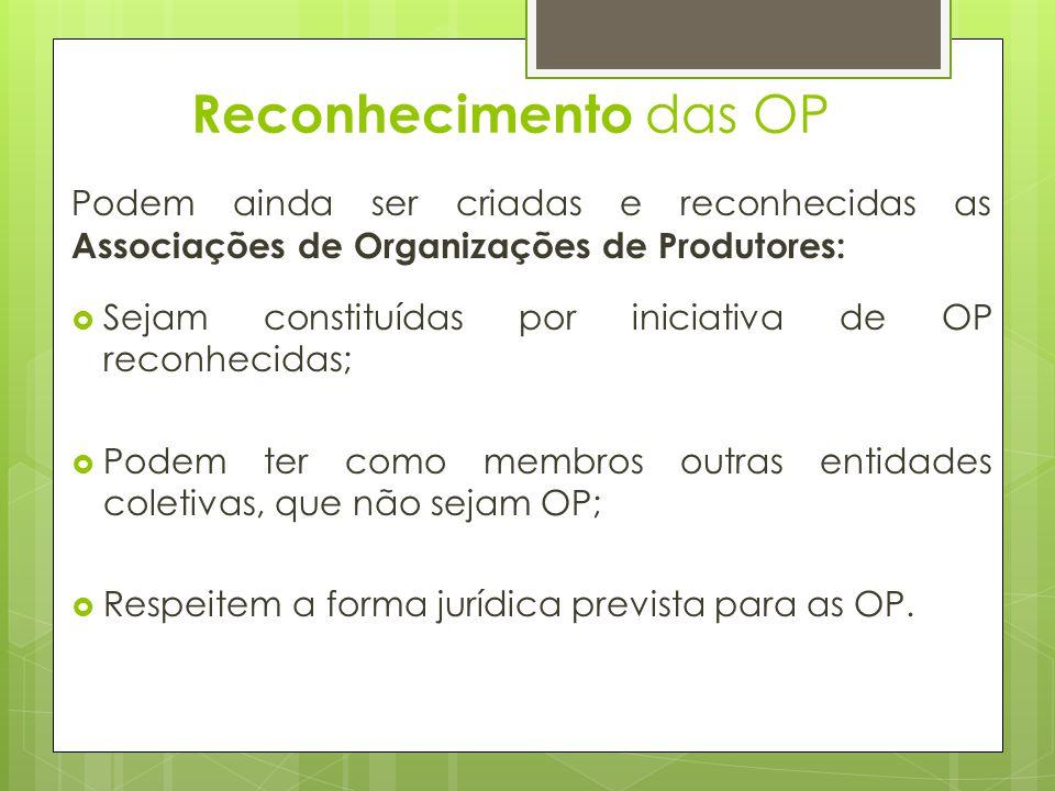 Reconhecimento das OP Podem ainda ser criadas e reconhecidas as Associações de Organizações de Produtores: