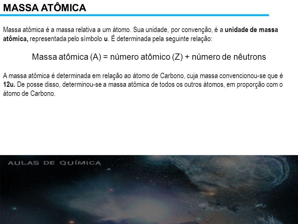 Massa atômica (A) = número atômico (Z) + número de nêutrons