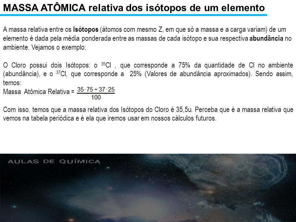 MASSA ATÔMICA relativa dos isótopos de um elemento