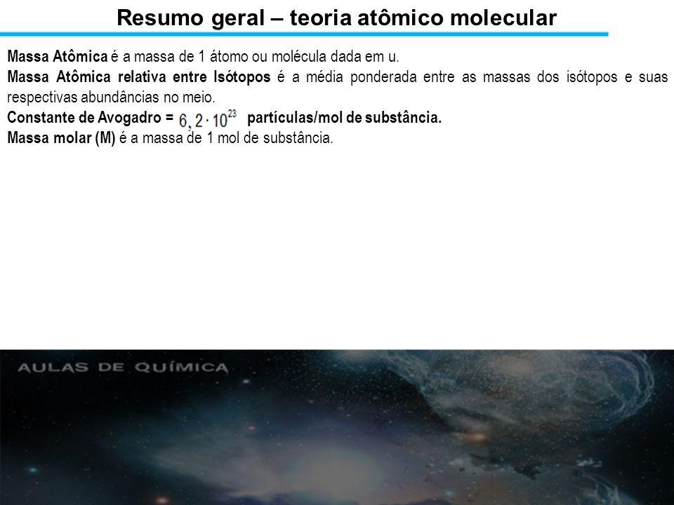 Resumo geral – teoria atômico molecular