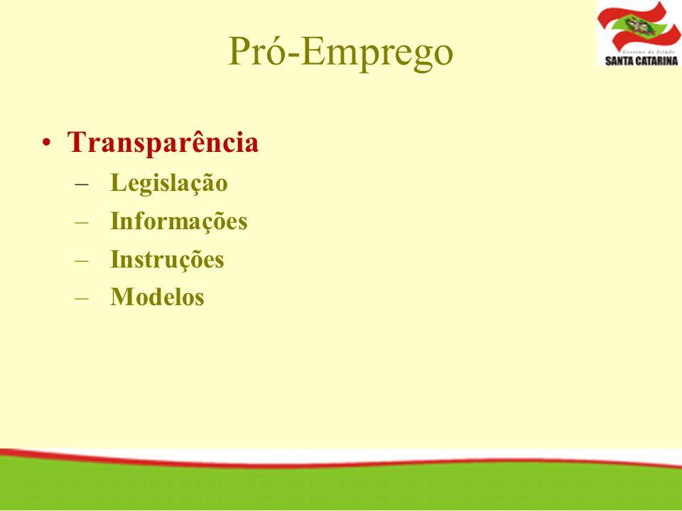 Pró-Emprego Transparência Legislação Informações Instruções Modelos