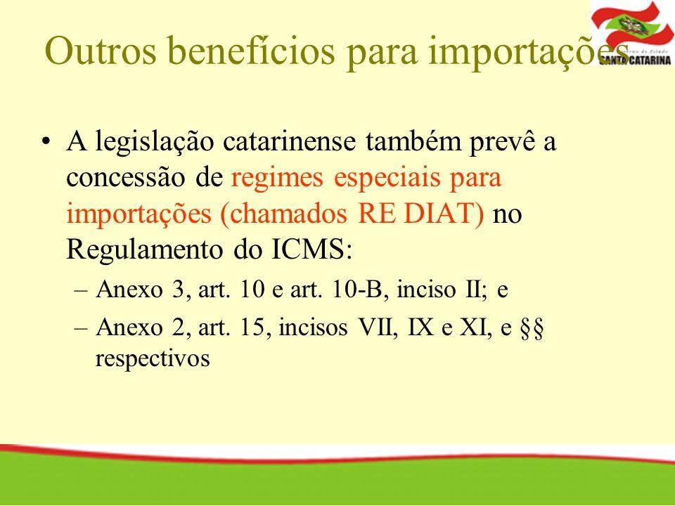 Outros benefícios para importações