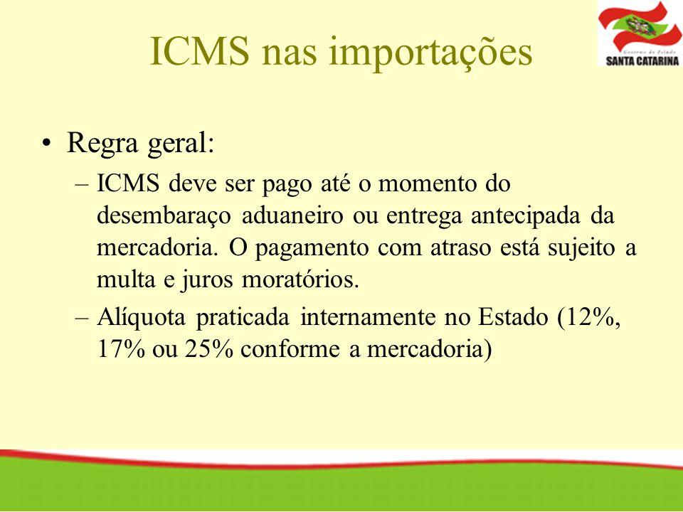 ICMS nas importações Regra geral: