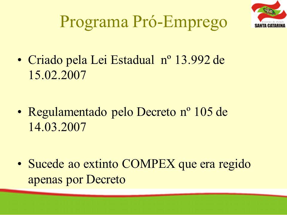 Programa Pró-Emprego Criado pela Lei Estadual nº 13.992 de 15.02.2007