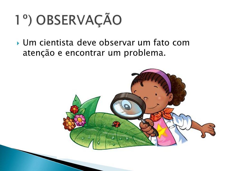 1º) OBSERVAÇÃO Um cientista deve observar um fato com atenção e encontrar um problema.