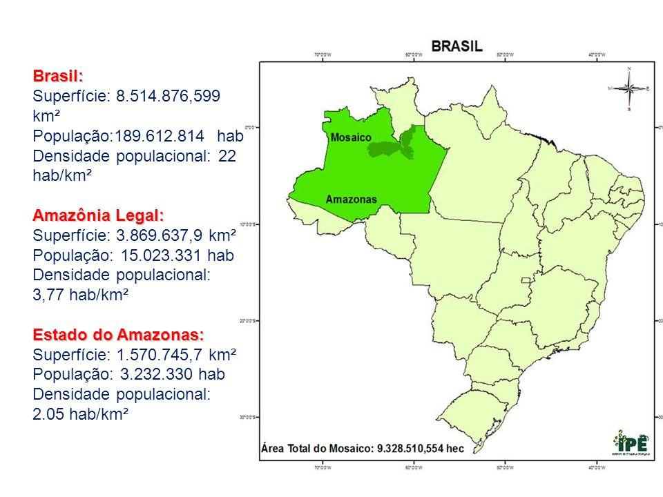 Brasil: Superfície: 8.514.876,599 km². População:189.612.814 hab. Densidade populacional: 22 hab/km²