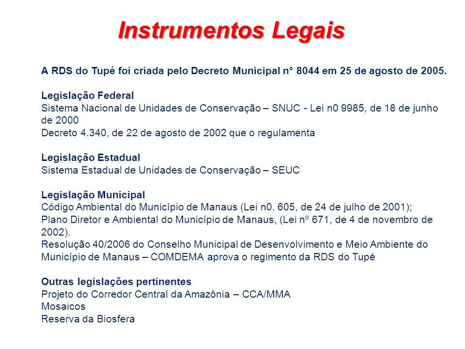 Instrumentos Legais A RDS do Tupé foi criada pelo Decreto Municipal n° 8044 em 25 de agosto de 2005.