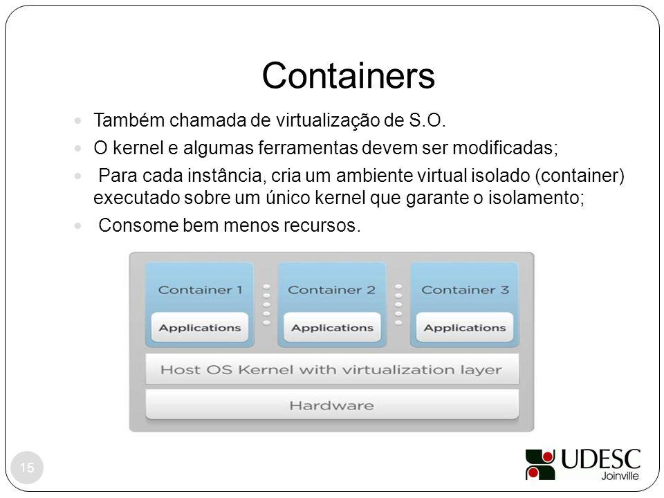 Containers Também chamada de virtualização de S.O.