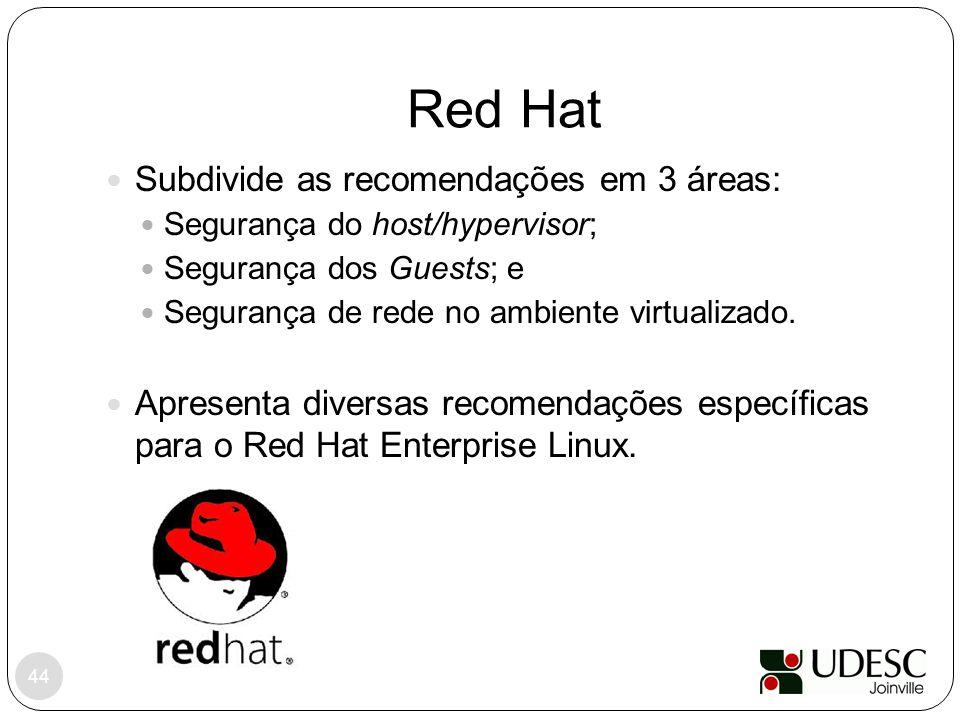 Red Hat Subdivide as recomendações em 3 áreas:
