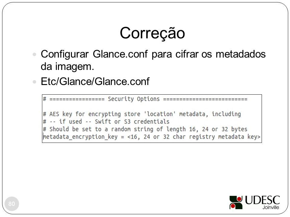 Correção Configurar Glance.conf para cifrar os metadados da imagem.