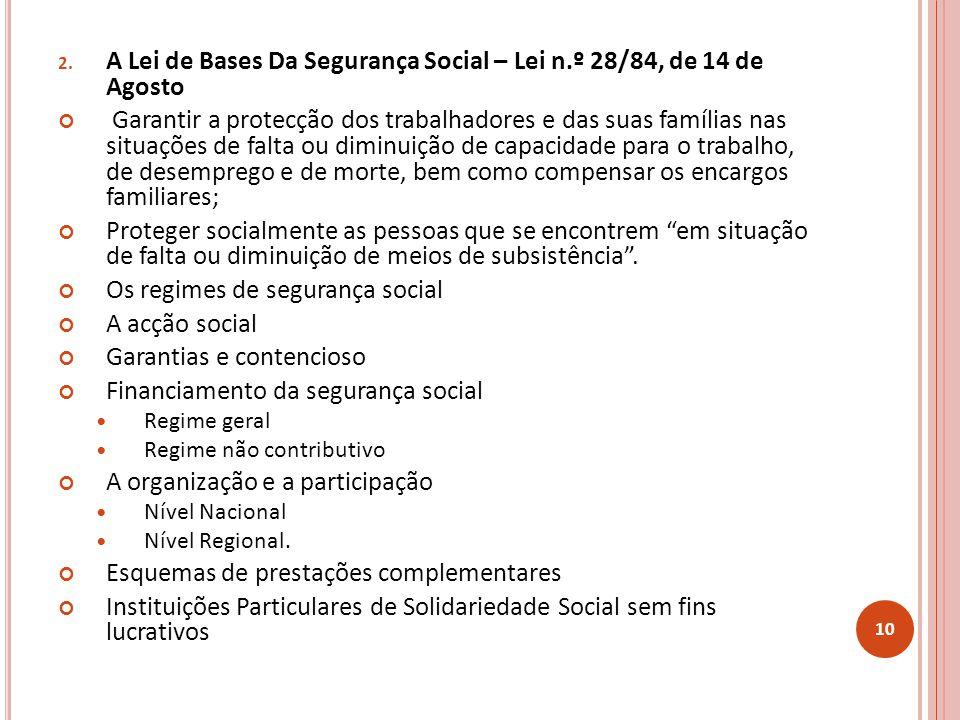 A Lei de Bases Da Segurança Social – Lei n.º 28/84, de 14 de Agosto