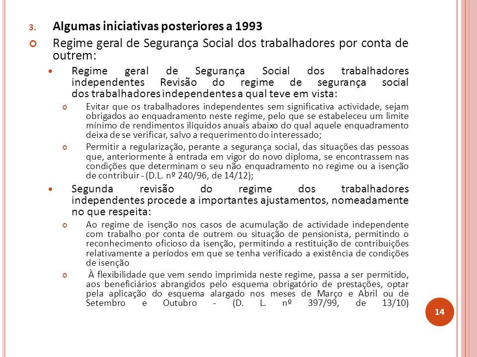 Algumas iniciativas posteriores a 1993