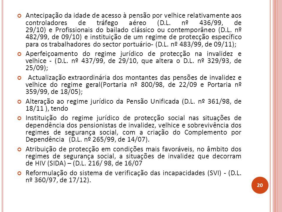 Antecipação da idade de acesso à pensão por velhice relativamente aos controladores de tráfego aéreo (D.L. nº 436/99, de 29/10) e Profissionais do bailado clássico ou contemporâneo (D.L. nº 482/99, de 09/10) e instituição de um regime de protecção específico para os trabalhadores do sector portuário- (D.L. nº 483/99, de 09/11);