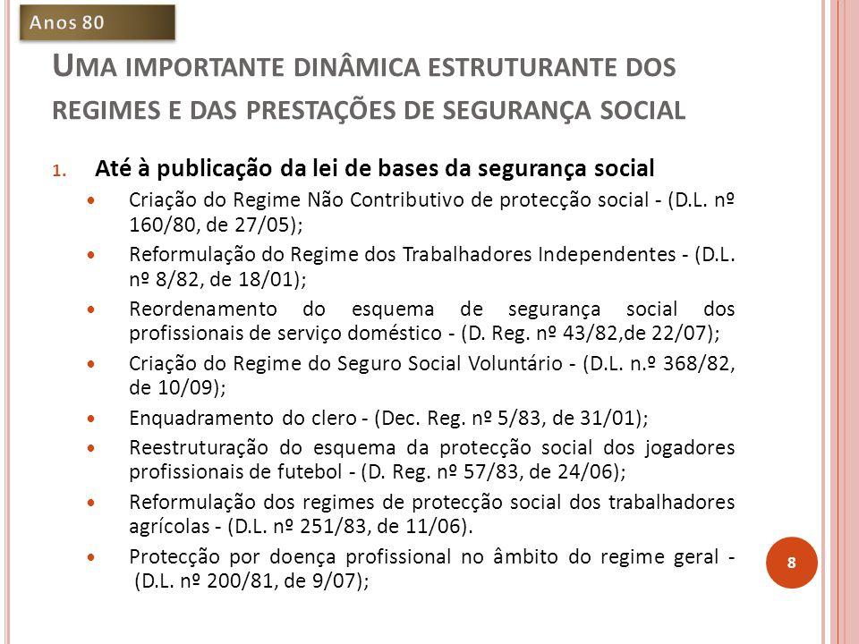 Anos 80 Uma importante dinâmica estruturante dos regimes e das prestações de segurança social. Até à publicação da lei de bases da segurança social.
