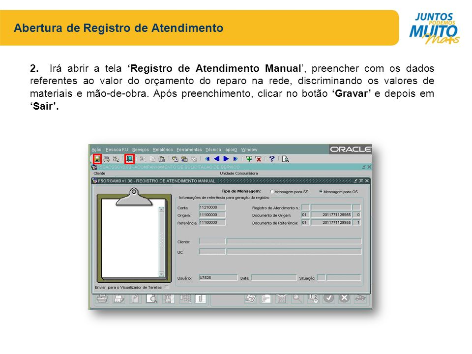 Abertura de Registro de Atendimento