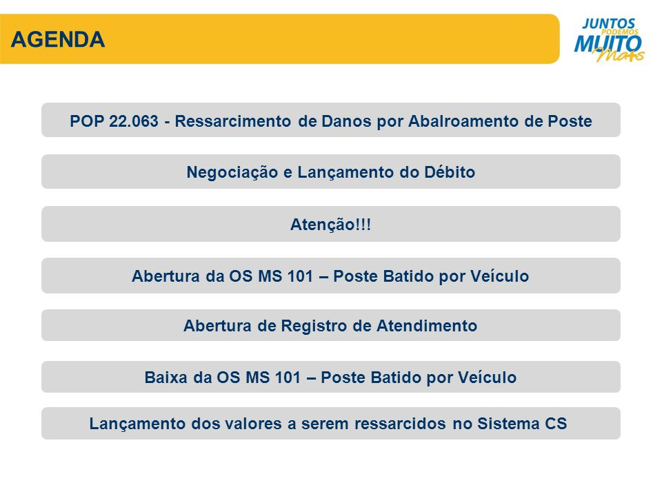 AGENDA POP 22.063 - Ressarcimento de Danos por Abalroamento de Poste