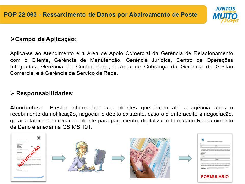 POP 22.063 - Ressarcimento de Danos por Abalroamento de Poste