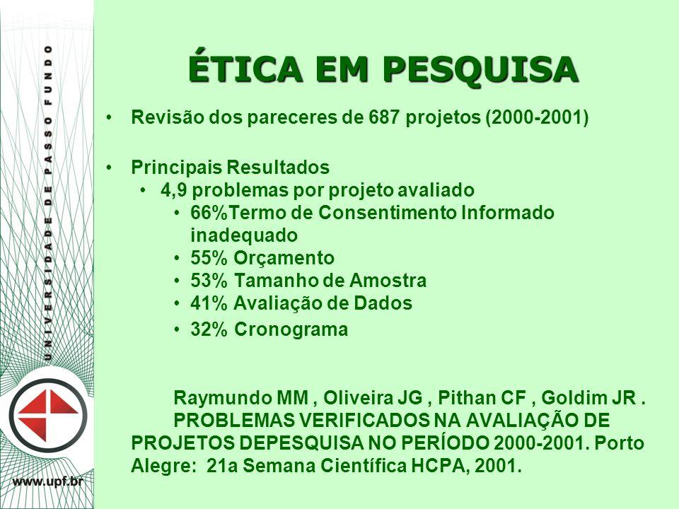 ÉTICA EM PESQUISA Revisão dos pareceres de 687 projetos (2000-2001)