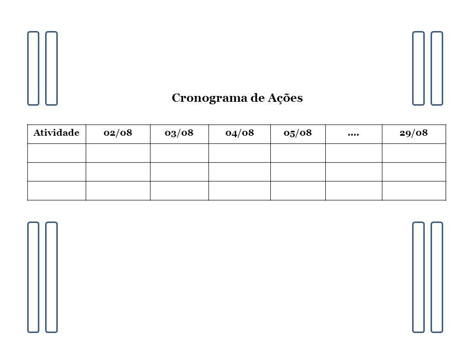 Cronograma de Ações Atividade 02/08 03/08 04/08 05/08 .... 29/08