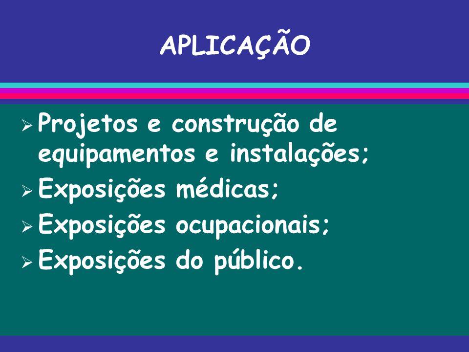 APLICAÇÃO Projetos e construção de equipamentos e instalações;