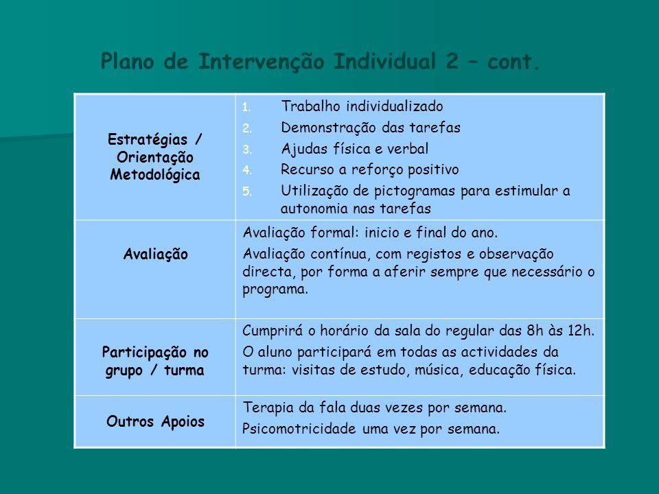 Plano de Intervenção Individual 2 – cont.