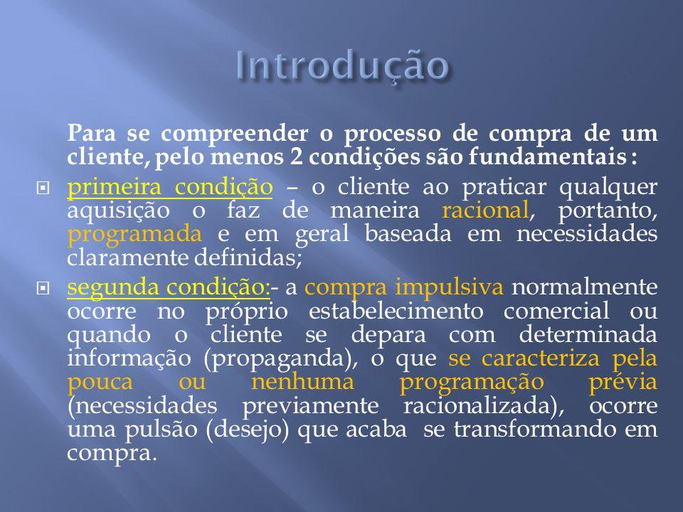 Introdução Para se compreender o processo de compra de um cliente, pelo menos 2 condições são fundamentais :
