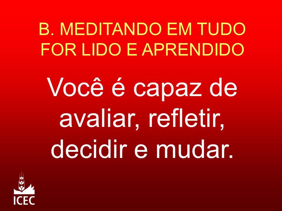 B. MEDITANDO EM TUDO FOR LIDO E APRENDIDO