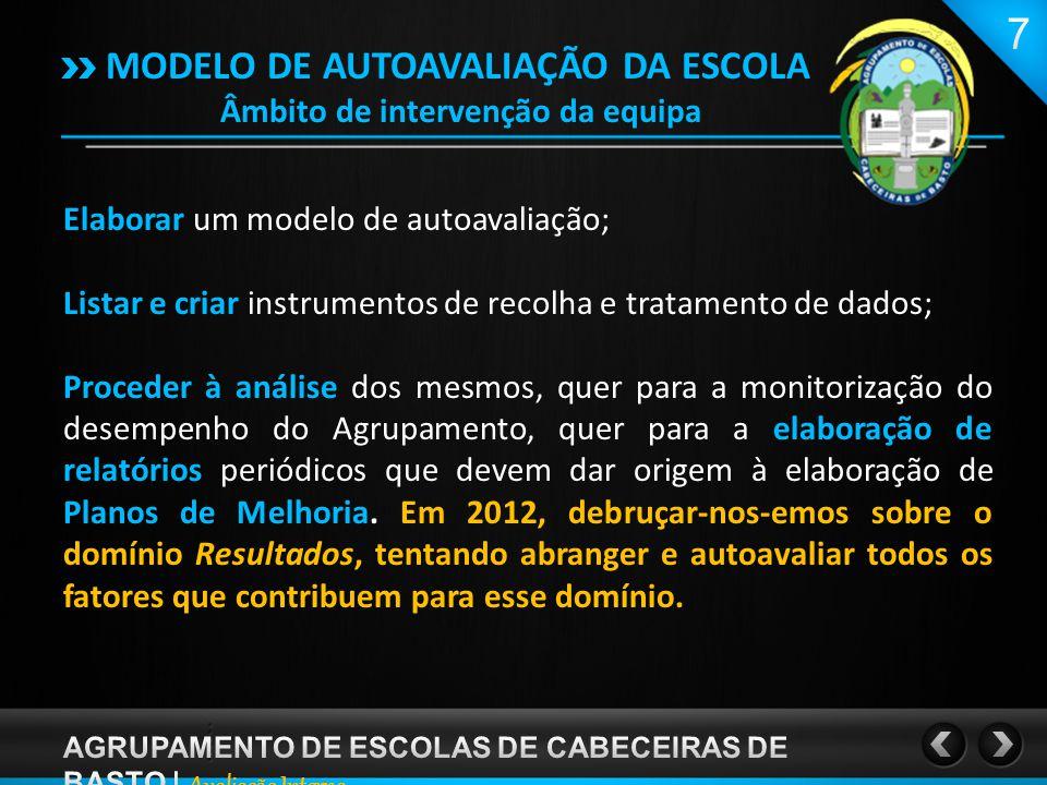 MODELO DE AUTOAVALIAÇÃO DA ESCOLA Âmbito de intervenção da equipa