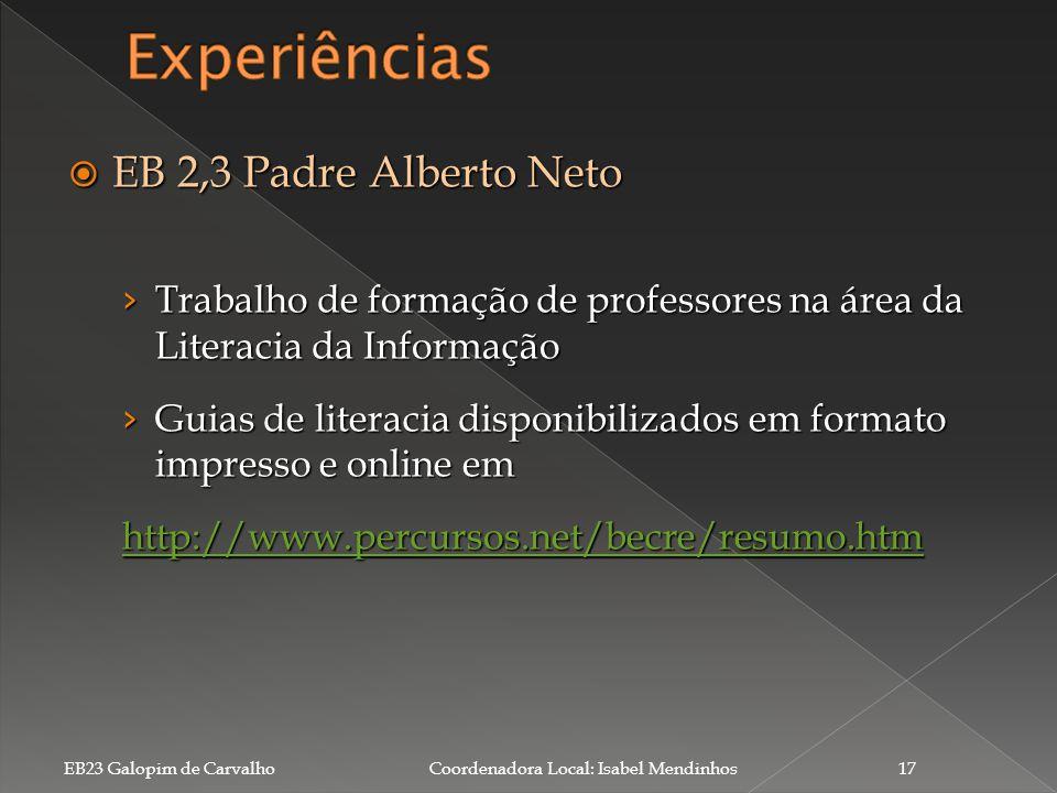 Experiências EB 2,3 Padre Alberto Neto