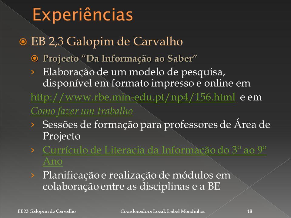 Experiências EB 2,3 Galopim de Carvalho